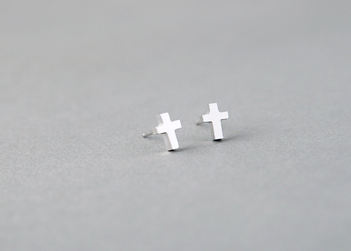 925 Sterling Silver Cross Earrings White Gold Vermeil Stud Studs On The Hunt