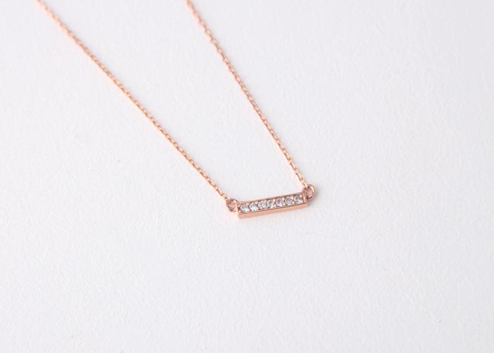 signity diamonds 18k rose gold bar necklace silver. Black Bedroom Furniture Sets. Home Design Ideas