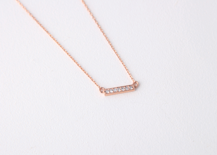 signity diamonds 18k gold bar necklace silver