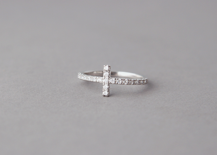 cz sideways cross ring white gold plated horizontal side