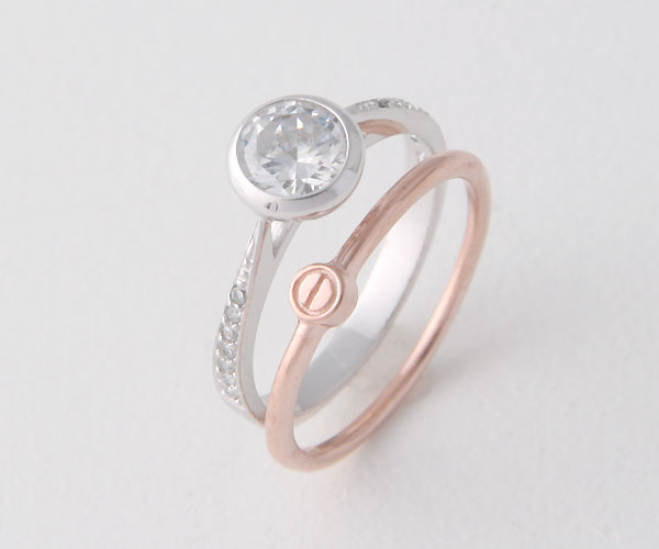 SILVER CZ ROUND BEZEL ENGAGEMENT RING WITH ROSE GOLD LOVE WEDDING RINGS