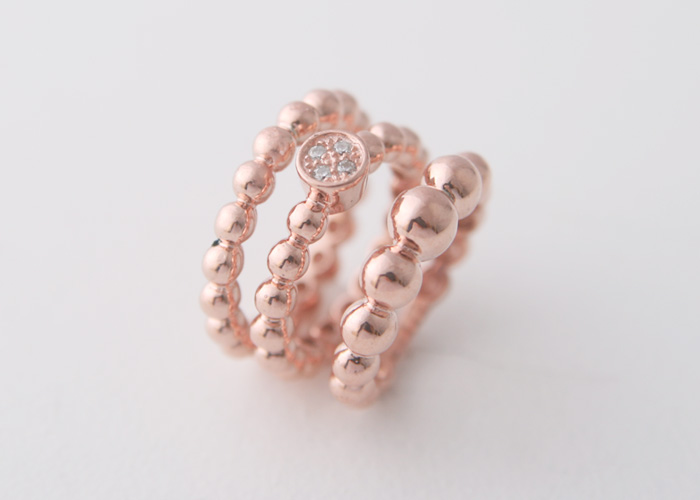 PERLEE BEAD RING 925STERLING SILVER ROSE GOLD ENGAGEMENT RINGS SET STACKABLE