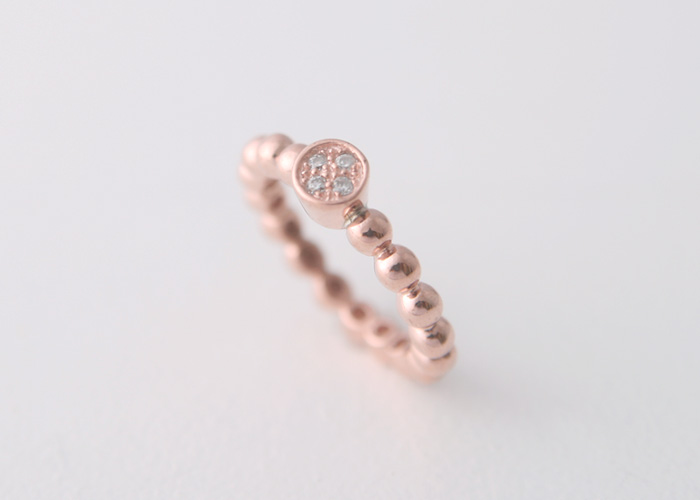 PERLEE CZ 925 STERLING SILVER BEAD RING ROSE GOLD WEDDING BAND ENGAGEMENT BAN